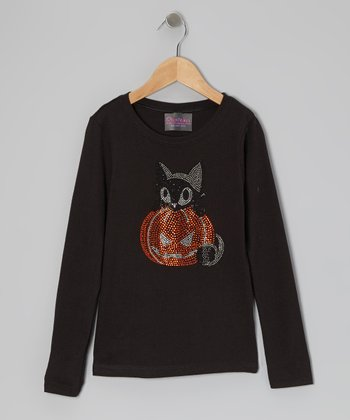 Black Rhinestone Pumpkin Kitten Tee - Infant, Toddler & Girls