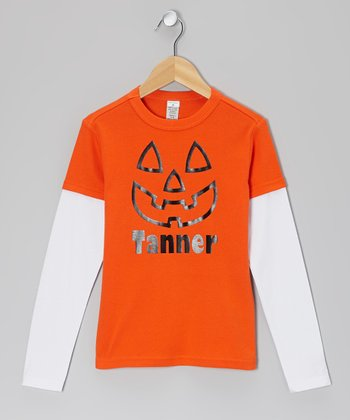 Orange Personalized Layered Tee - Infant, Toddler & Kids