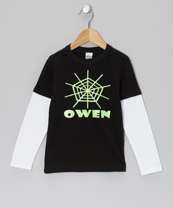 Black Spiderweb Personalized Layered Tee - Infant, Toddler & Boys