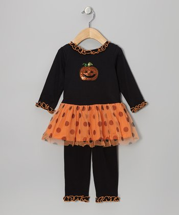 Black Rhinestone Pumpkin Ruffle Tunic & Leggings - Infant