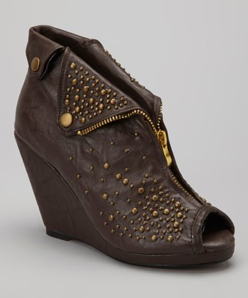 Coffee Alex Studded Peep-Toe Bootie
