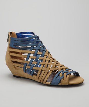 Tan & Blue Woven Branch Wedge
