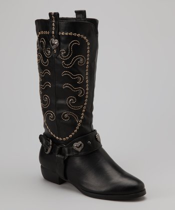 Black Embellished Cowgirl Boot