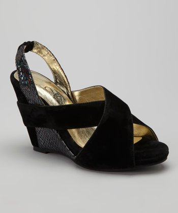 Black Sylvia Slingback Wedge