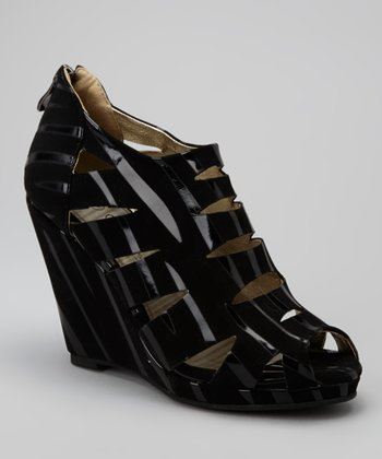 Black & Zebra Venice Cutout Wedge