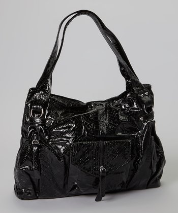 Black Crocodile Textured Tote