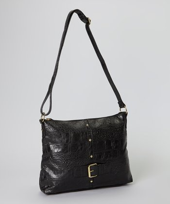 Black Crocodile Belted Crossbody Bag
