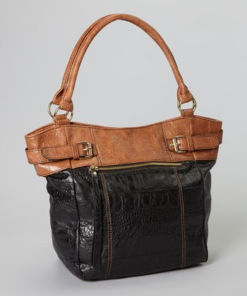 Cognac Color Block Crocodile Tote