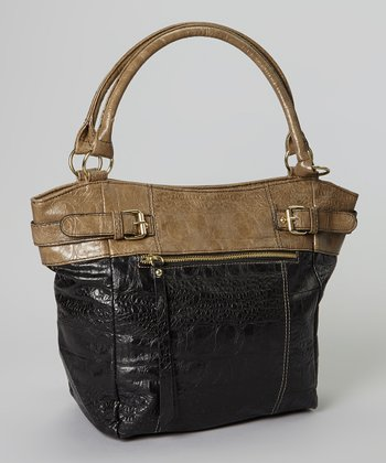Taupe Color Block Crocodile Tote