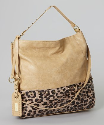 Blonde & Gold Leopard Pebbled Hobo