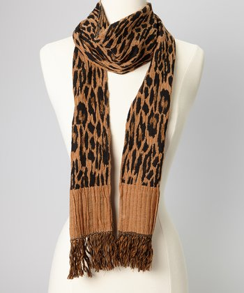 Brown Leopard Wool Scarf