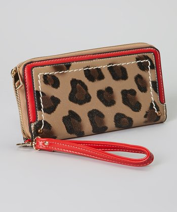 Brown Leopard Wristlet