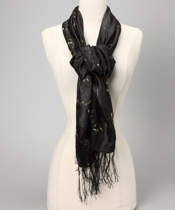 Black Embroidered Crinkle Scarf