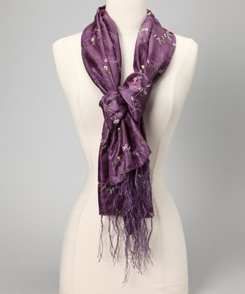 Eggplant Embroidered Crinkle Scarf