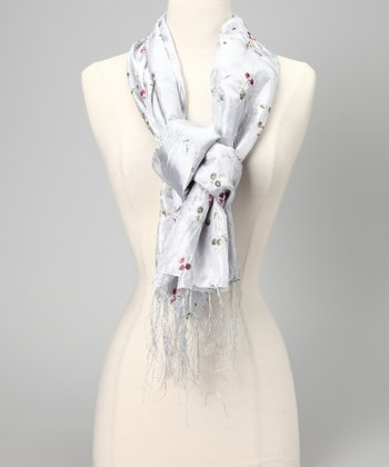Gray Embroidered Crinkle Scarf