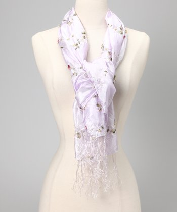 Lilac Embroidered Crinkle Scarf