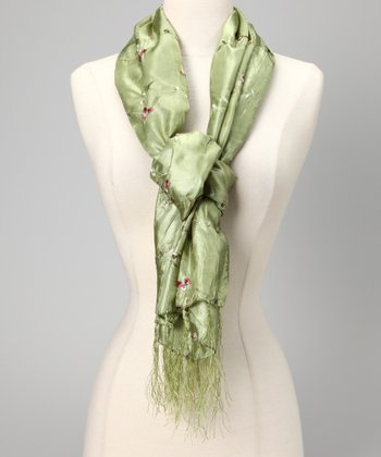 Olive Green Embroidered Crinkle Scarf