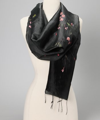 Black Hand-Painted Floral Silk-Blend Scarf