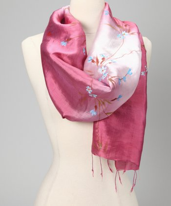 Dusty Rose Hand-Painted Floral Silk-Blend Scarf