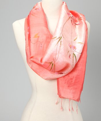 Peach Hand-Painted Floral Silk-Blend Scarf
