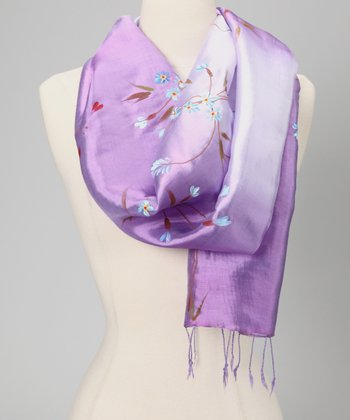 Purple & Lilac Hand-Painted Floral Silk-Blend Scarf