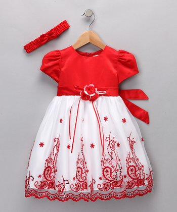 Red Embroidered Dress & Headband - Infant