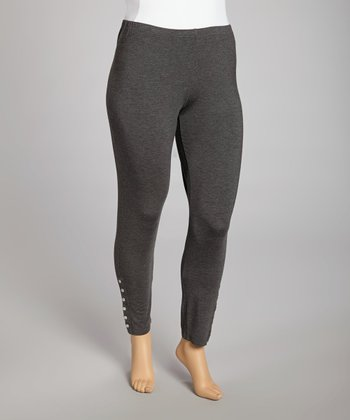 Charcoal Snap Leggings - Plus