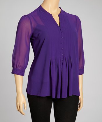 Orchid Pin Tucked Three-Quarter Sleeve Top - Plus