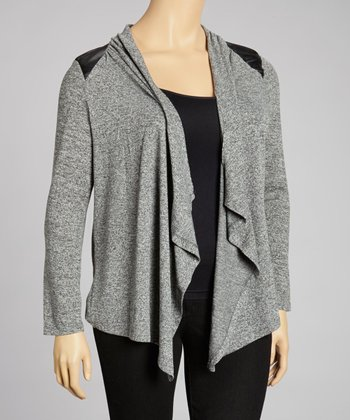 Charcoal Faux Leather Open Cardigan - Plus