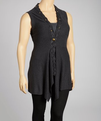 Charcoal Sleeveless Tunic Vest - Plus