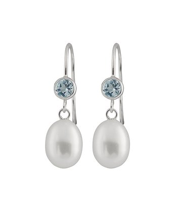 White Pearl & Blue Topaz Drop Earrings