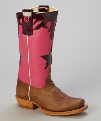 Pink & Tan Bone Antique Goat Cowboy Boot - Kids