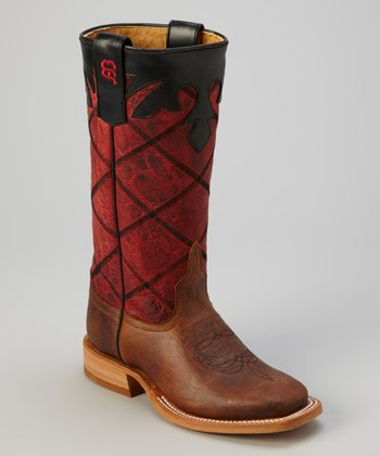Tan & Rockin' Red Bison Cowboy Boot