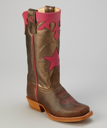 Pink & Pewter Metallic Crazyhorse Cowboy Boot - Kids