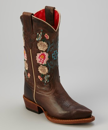 Brown Chocolate Lucky Dog Cowboy Boot - Kids