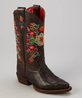 Brown Oil Slick Flower Cowboy Boot