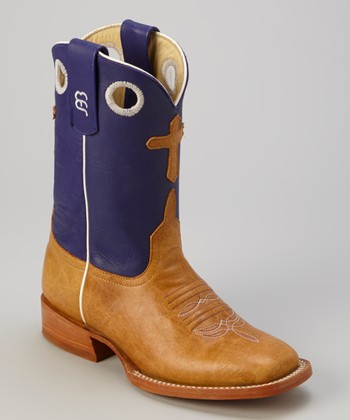 Tan & Purple Lovin' Antique Bison Cowboy Boot