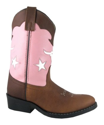 Brown & Pink Bull Dog Cowboy Boot - Kids