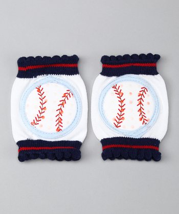 White & Red Baseball Gripper Knee Pads