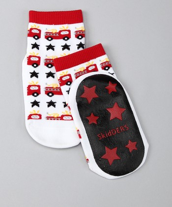White & Red Fire Truck Gripper Socks