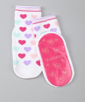White Heart Gripper Socks