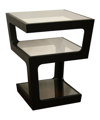 Black Modern Tall 3-Tiered End Table