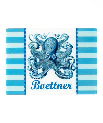 Blue & White Octopus Personalized Cutting Board