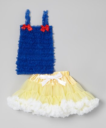 Blue Ruffle Tank & Yellow Pettiskirt - Infant, Toddler & Girls