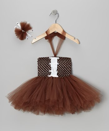 Brown Football Tutu Dress & Bow Clip - Infant
