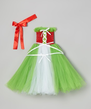 Green Elf Tutu Dress & Red Headband - Infant, Toddler & Girls