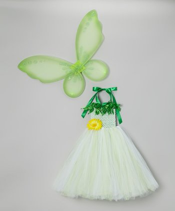 Green Pixie Fairy Tutu Dress & Wings - Infant & Toddler