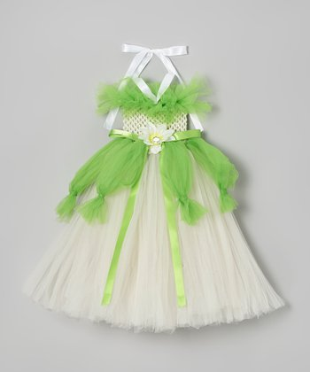 Green & White Frog Princess Tutu Dress - Infant, Toddler & Girls