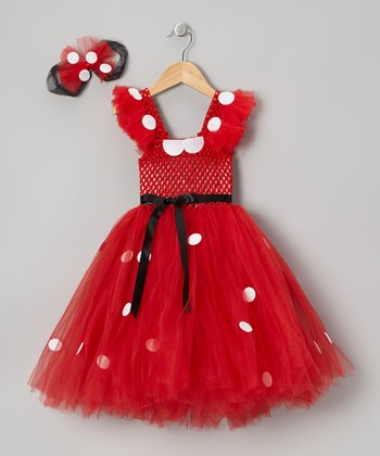 Red Mouse Tutu Dress & Bow Clip - Infant, Toddler & Girls