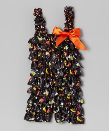 Black Halloween Ruffle Romper - Infant & Toddler